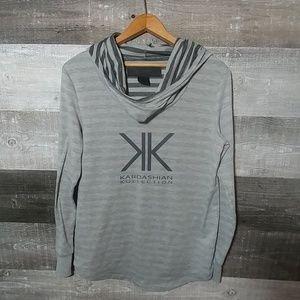 Kardashian Kollection logo light cowlneck hoodie